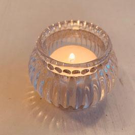 Teelicht Glas Schliff Perlenkranz Nr. 02