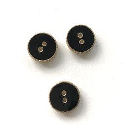 Knopf Emaille schwarz gold