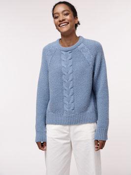Pullover mit Zopfmuster - fog melange