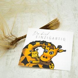 """""""DU BIST EINZIGARTIG"""" quadratische Postkarte"""