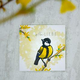 """ALLES LIEBE"" quadratische Postkarte"