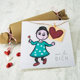 """""""NUR FÜR DICH"""" quadratische Postkarte"""
