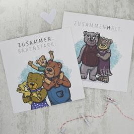 """""""ZUSAMMEN"""" Kombipack 2 Postkarten"""