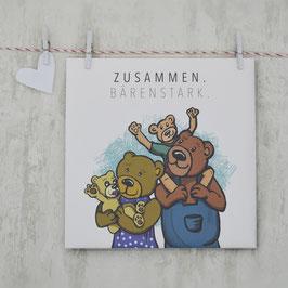 """""""ZUSAMMEN BÄRENSTARK"""" Postkarte"""