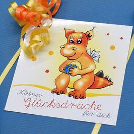 """KLEINER GLÜCKSDRACHE"" Abziehbare Glückwunschkarte / Aufkleber"