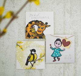 """""""KLEINE AUFMERSAMKEITEN"""" 3 quadratische Postkarten, verschiedene Motive"""