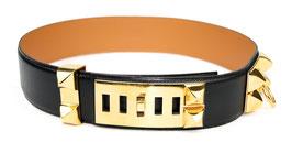 Hermès Gürtel Collier de Chien Schwarz