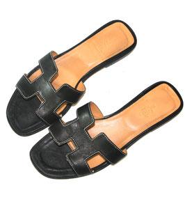 Hermès Oran Sandale Schwarz