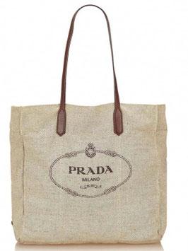 Prada Leinen Tasche in Cremeweiß