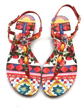 Dolce & Gabbana Sandale Carretto con Rose Multicolor