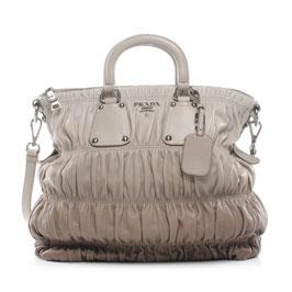 Prada Nappa Leder Gaufre Handtasche in Taupe/Braun mit Farbverlauf