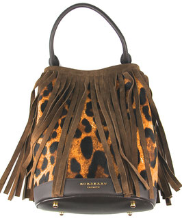 Burberry Prorsum Animal Printed Fringed Calfskin and Fur Tote in Braun