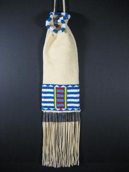 Indianerbeutel mit Cheyenne Muster blau/weiß