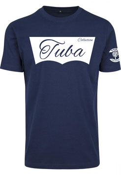 Tuba Design T-Shirt Easy Navy Blue & White