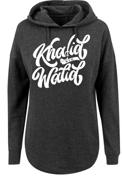 Long Hoodie charcoal Khalid Bin Walid