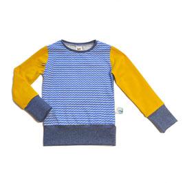 longsleeve retrostreep blauw/geel