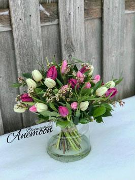 Gemengd tulpenboeket roze