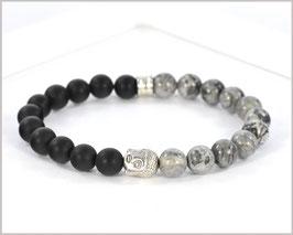 Männer Armband  - Achat und Jaspis Armband mit Buddha 8mm