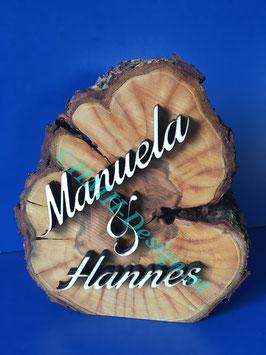 Naturholzscheibe mit euren Namen