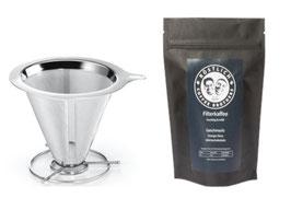 Kaffeefilter Edelstahl & Kaffee im Set
