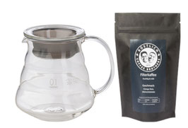 Hario V60 Glaskanne & Kaffee im Set