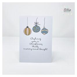 "Grußkarte m. Umschlag ""Merry and bright"" Holiday Season"