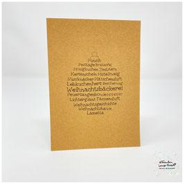 """Grußkarte m.Umschlag """"Weihnachtswortschatz"""" Christbaumkugel craft"""