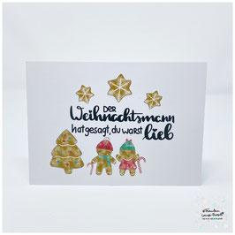 """Grußkarte m. Umschlag """"Der Weihnachtsmann..."""""""