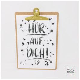 "A4 Poster ""Hör auf Dich!"" inkl. Klemmbrett gold"
