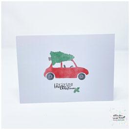 "Grußkarte m. Umschlag ""Driving Home for Christmas"""