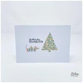 """Grußkarte m. Umschlag """"Fröhliche Weihnachten"""" Dackelgrüße"""