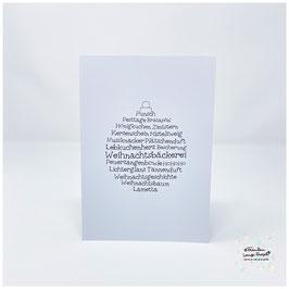 """Grußkarte m. Umschlag """"Weihnachtswortschatz"""" Christbaumkugel s/w"""