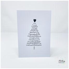 """Grußkarte m. Umschlag """"Weihnachtswortschatz"""" Tannenbaum s/w"""