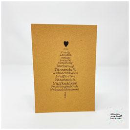 """Grußkarte """"Weihnachtswortschatz"""" Tannenbaum Craft"""
