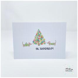 """Grußkarte m. Umschlag """"Oh Tannenbaum"""" Dackelgrüße"""
