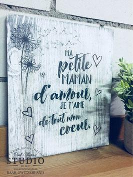 Image en bois gravée et peinte à la main - Ma petite maman d'amour , Je t aime de tout mon coeur