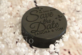 Save the Date Hockey Puck
