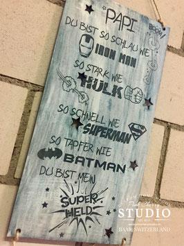 Shabby Schild - Vaterstag - Superheld