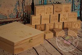 Gravierte Holzwürfel inkl. Holzbox