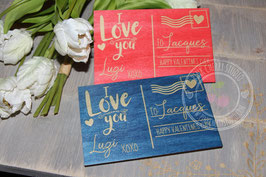 Valentins Postkarte aus Holz