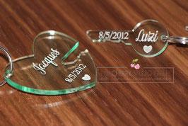 Schlüsselanhänger Pärchen Set Schlüssel Herz