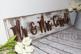 Shabby Hochzeits-Holzschild mit Namen