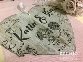 Shabby Hochzeit Herz - Personalisiert