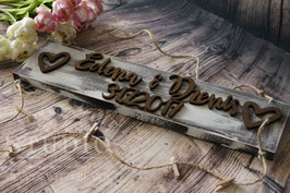 Shabby Holzschild mit Namen für Fotos