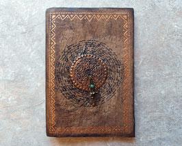 Cahier d'artiste - Grimoire  Calligraphie, estampe et sequins peuls