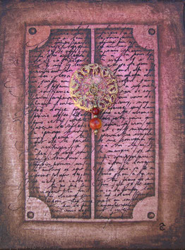 Tableau Calligraphie -  Tableau rose aux perles rouges - La porte du Diwan