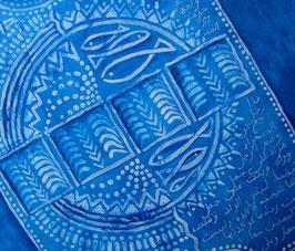 Tableau bleu de Tunis - De Carthage à Tine Essouane à la manière de Rachid Koraïchi