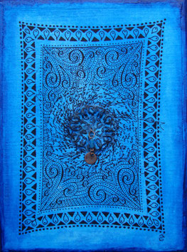 Tableau calligraphie - Tableau arabesques - Tableau bleu - Bleu Majorelle - Tableau Diwan - Calligraphie à la perle bleue