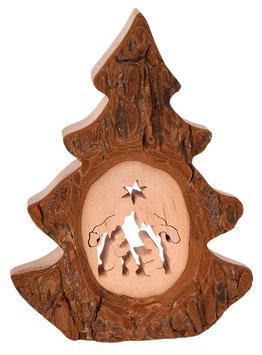 Rindenbild Baum mit Krippe