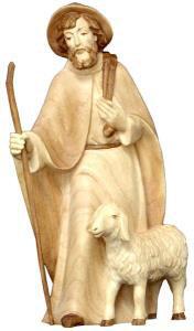 Hirt stehend mit Hut und Schaf 2-fach gebeizt